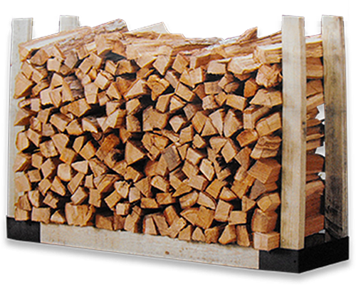 Bin of dried, split and stacked oak firewood